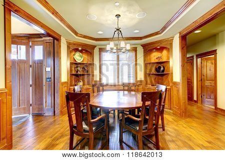 Nice Dinning Room With Hardwood Floor And Great Table.