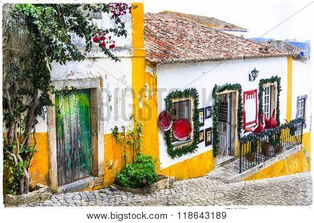 charming streets of old town Obidos in Portugal, artistic picture
