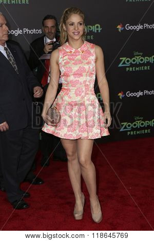 LOS ANGELES - FEB 17:  Shakira at the Zootopia Premiere at the El Capitan Theater on February 17, 2016 in Los Angeles, CA