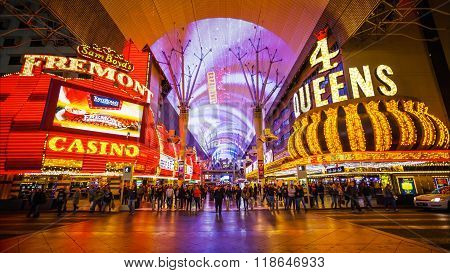 Fremont Street Experience At Night In Las Vegas