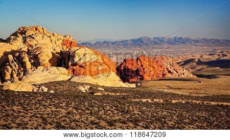Red Rock Canyon With  Las Vegas In The Distance