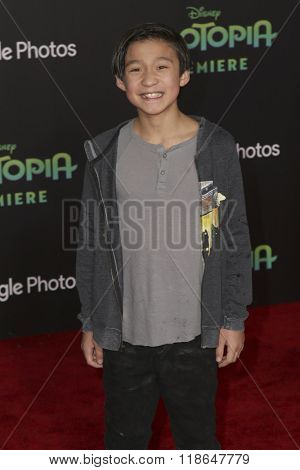 LOS ANGELES - FEB 17:  Forrest Wheeler at the Zootopia Premiere at the El Capitan Theater on February 17, 2016 in Los Angeles, CA