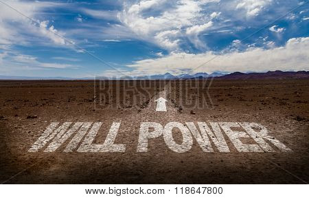 Will Power written on desert road