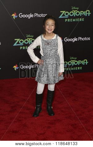 LOS ANGELES - FEB 17:  Aubrey Anderson-Emmons at the Zootopia Premiere at the El Capitan Theater on February 17, 2016 in Los Angeles, CA