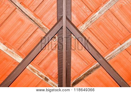 Abstract closeup of a terracotta ceramic tile roof, view from underneath building overhang,with textural and structural details. poster