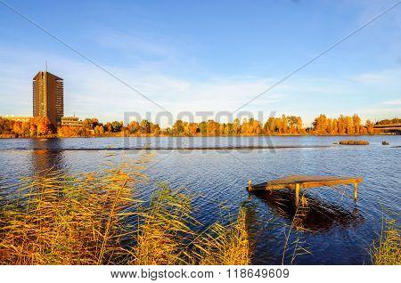 View at Zakusala island on river Daugava in Riga, Latvia