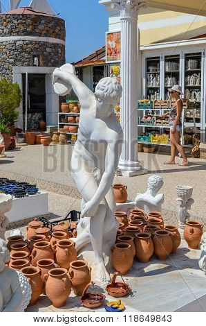 Miron Discobolus sculpture in Greek small gift shop at village, Lassithi, Crete