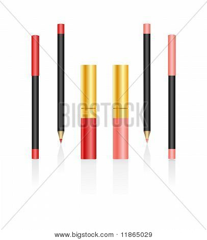Lipsticks And Pencils Isolated On A White Background