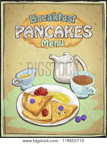Hand drawn breakfast menu with pancakes, berries, cup of tea and honey on a vintage backdrop