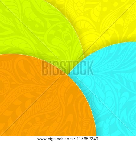 Abstract background with circles and doodle texture orange blue yellow green for template of flyers