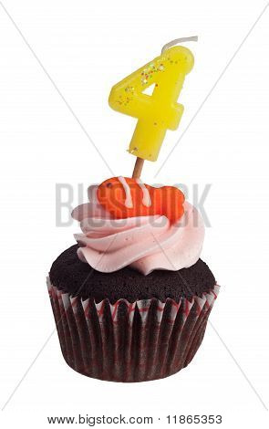 Mini cupcake with birthday candle for four year old isolated on white background poster