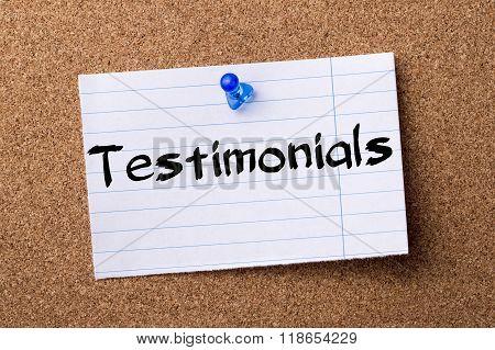Testimonials - Teared Note Paper Pinned On Bulletin Board