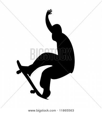 Illustration Of Black Silhouette Skateboard Man