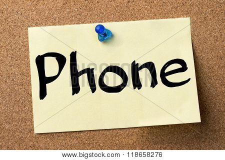 Phone - Adhesive Label Pinned On Bulletin Board