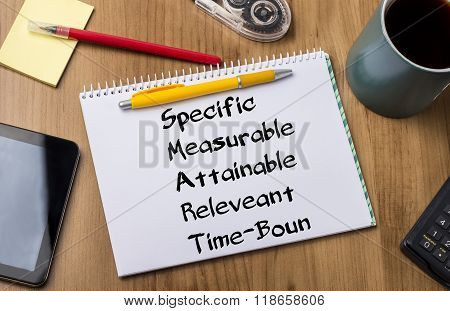 Specific Measurable Attainable Releveant Time-bound Smart - Note Pad With Text