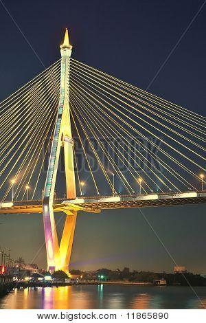 Bhumibol Bridge in Thailand at dusk