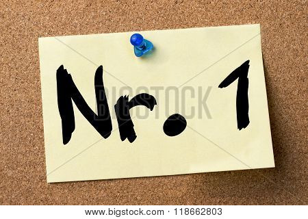Nr. 1 - Adhesive Label Pinned On Bulletin Board