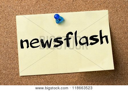 Newsflash - Adhesive Label Pinned On Bulletin Board