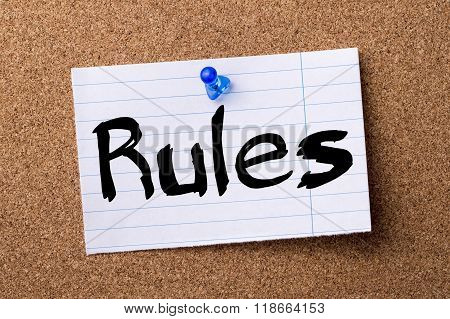 Rules - Teared Note Paper Pinned On Bulletin Board