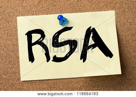 Rsa - Adhesive Label Pinned On Bulletin Board