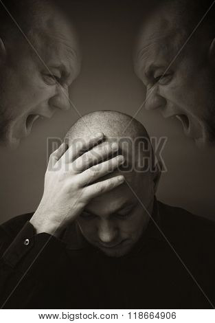 Schizophrenia. Double Exposure photo
