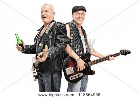 Senior male punk rock bass player and guitarist posing together isolated on white background