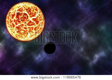 Solar Burn Dead Planet On Cosmos With Nebular