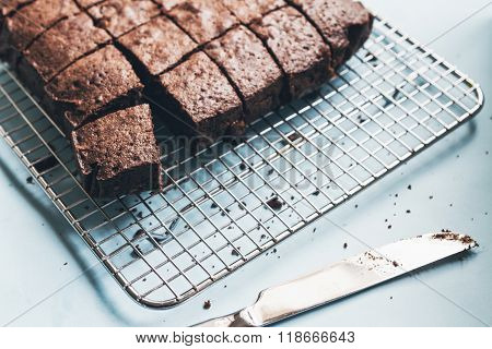 Chocolate Brownie Cake Cut Into Slices