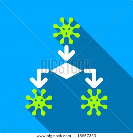 Virus Reproduction Flat Long Shadow Square Icon
