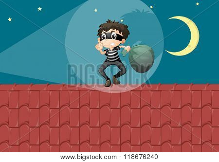 Robber breaking in the house at night illustration