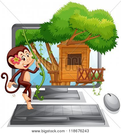 Computer screen with monkey on treehouse illustration