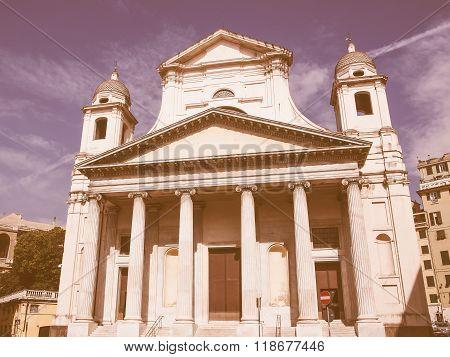 Santissima Annunziata Church In Genoa Italy Vintage