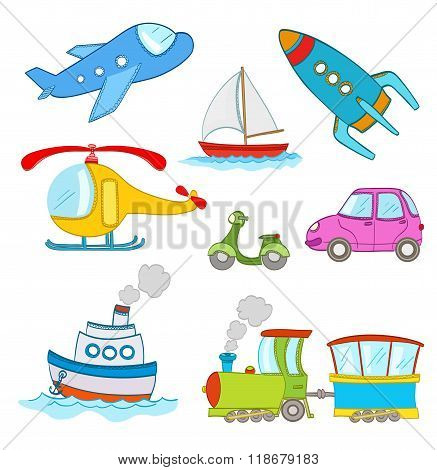 Set Of Cartoon Transportation