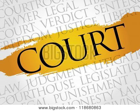Court word cloud collage concept, presentation background