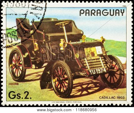 Old Car Cadillac (1903) On Postage Stamp