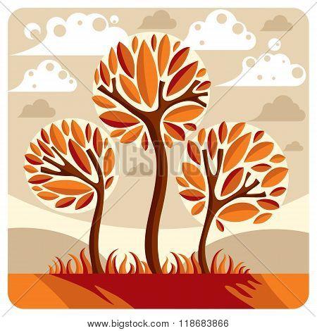 Fantasy Landscape With Stylized Tree, Peaceful Scene. Season Theme Vector Illustration, Ecology Idea