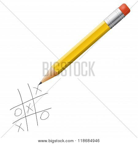 Vector Tick-tack-toe Game With Pencil