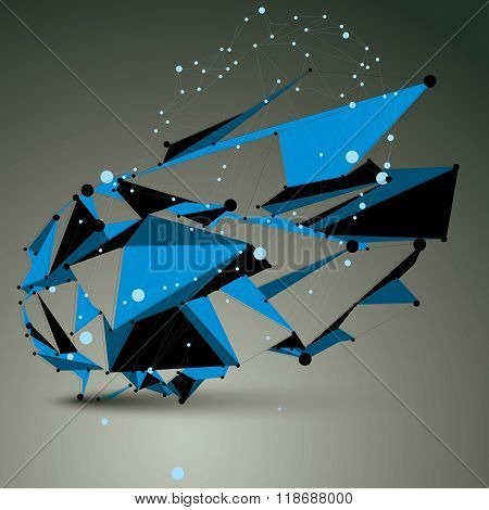 Contemporary Technology Blue Stylish Futuristic Construction, Abstract 3D Vector Figure With Connect
