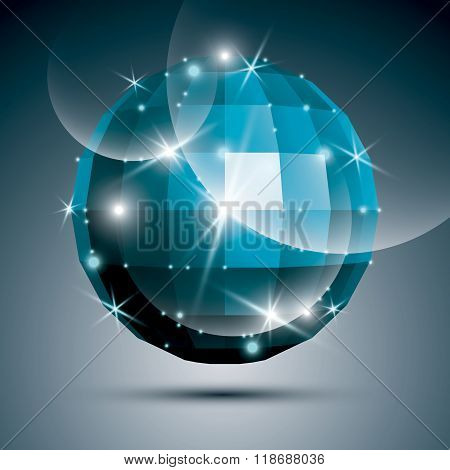 Jewel Dimensional Blue Sparkling Mirror Ball Created From Geometric Figures. Vector Festive Illustra