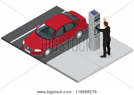 Isometric Parking meter. Parking meter did not give ticket. Parking meter error. Parking meter break