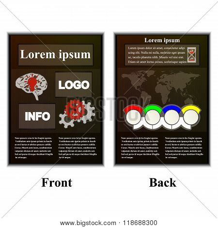 Infographic Brochure With Map Of The World