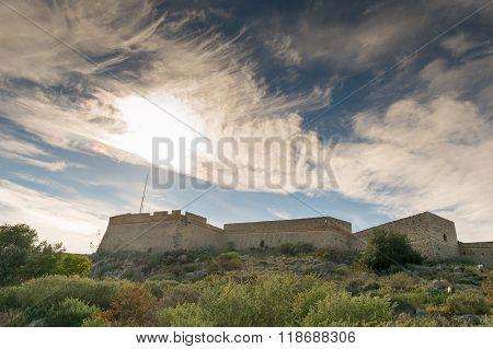 Palamidi fort at Nafplio Greece against a dramatic sky.
