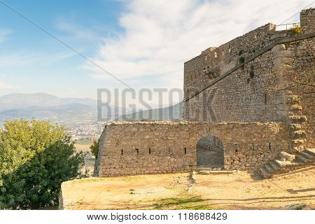 Landscape of Palamidi castle at Nafplio in Greece against the old city.
