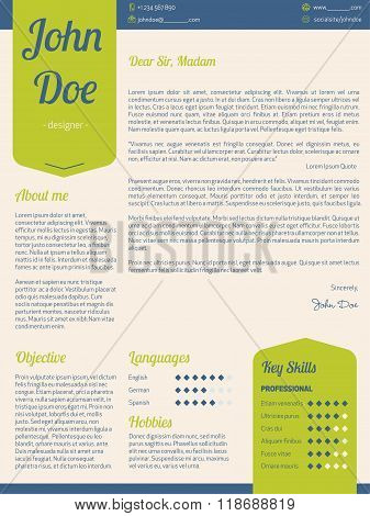 Modern Cover Letter Resume Cv With Green Ribbons