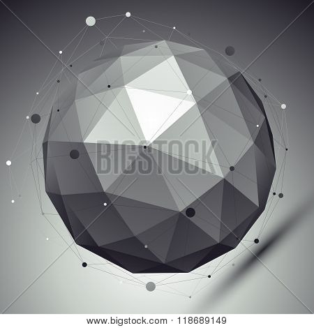 Abstract Grayscale 3D Sphere With Asymmetric Grid, Vector Digital Eps8 Lattice Object Placed Over Da