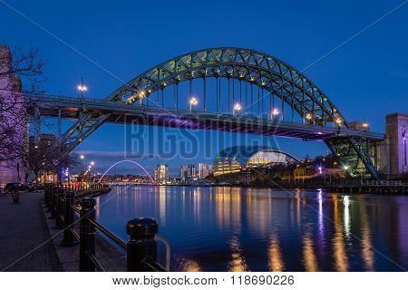 Tyne Bridge And Quayside At Night