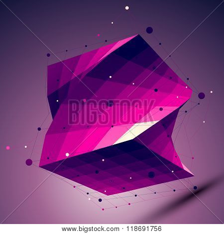 Purple Geometric Squared Structure With Wire Mesh, Modern Science And Technology Lattice Background.