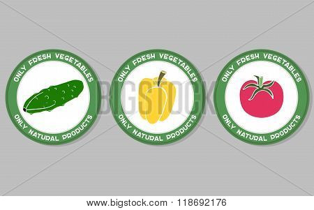 Vegetables Labels Set
