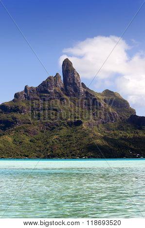 View of the Otemanu mountain and ocean. Bora-Bora. Polynesia