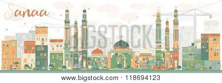 Stylized Sanaa (Yemen) Skyline with Color Buildings. Business Travel and Tourism Concept with Historic Buildings. Image for Presentation Banner, Placard and Web Site.